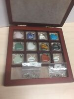 Collection Of Gemstone Hearts With Chains Carrying Case Included