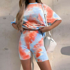 Women Tie Dye Print Basic Top + Shorts Pants Two Piece Set Casual Sports Suit