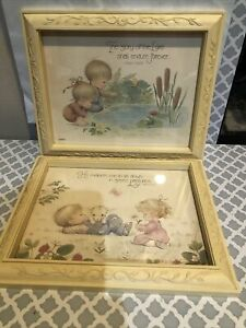 Lot 2 Vintage Homco Framed Art Childrens Baby Wall Decor Nursery Bible Verse