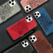 For iPhone 12 11 Pro Max XR 8 Stand Card Pocket Holder Canvas Wallet Case Cover