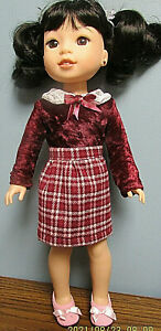 """Fall Plaid Skirt Set made to fit  14.5"""" Wellie Wishers dolls"""