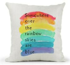 Cream Inspirational Quote Cushion.. Somewhere over the rainbow.. Friend Gift