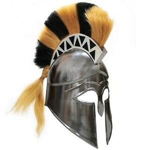 Greek Corinthian Helmet With Plume Historical Replica Helmet Armor Knight Adult