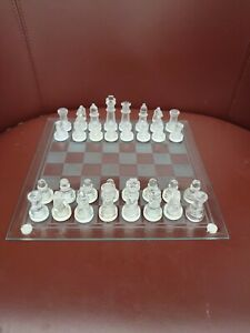 Vintage Quality Glass Chess Set  Complete Boxed Glass board Excellent Condition