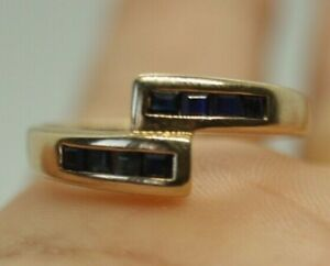 100% Genuine 9k Solid Yellow Gold 0.4ct Black Sapphire Sturdy Ring Sz 7.75 or P