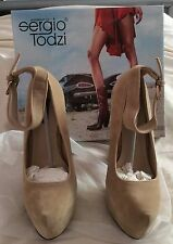 BNIB SERGIO TODZI DESIGNER NUDE FAUX SUEDE COURT SHOES,SIZE UK 4,EU 37,BOXED