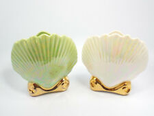 Vintage Pair of White & Green Lusterware Oyster Shell Planter Wall Pockets