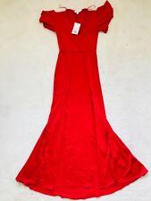 BNWT Women Red Jersey Prom Maxi Dress with Splits Size Petite UK 6 Miss Selfrige