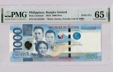 2019 PHILIPPINES 1000 Piso PMG65 EPQ GEM UNC Solid No.222222