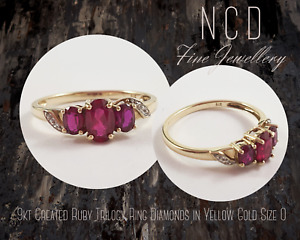 NC Designs Genuine 9kt Created Ruby Trilogy Ring Diamonds in Yellow Gold Size O