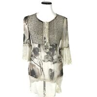 Sundance Chiffon Floral Popover Silk Blouse Embroidered Trim Womens Size S Beige
