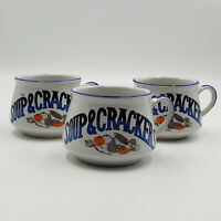 VTG Vintage Soup & Crackers Ceramic Bowls Coffee Cup Mugs Wide Mouth with Handle