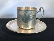 Antique French 1800's Silver Tea Cup & Saucer Set made by Victor Lenuet