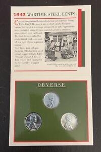 1943 Wartime Steel Cents S D P Set 3 Wheat Steel Pennies Littleton Coin Co 1994