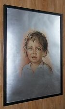 Classic boy crying framed wall art -50x70cm frame, Crying boy print