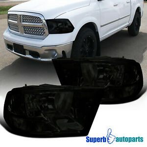 For 2009-2018 Dodge Ram 1500 2500 3500 Headlight Head Lamps Smoke
