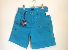 Diesel FiftyFive Womans Summer Shorts. Green with studs. Size 27 waist. NEW.