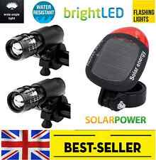 2 pcs front + rear solar led lights set - zoom flashing bright light lamp bike
