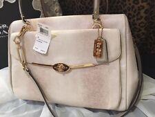 NWT Coach Lg Madison Madeline Lizard Emb Leather Satchel Handbag in Beige 25236