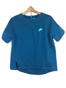 NIKE Women's Size S Teal Short Sleeve Heavyweight Back Zip Lined Athletic Top