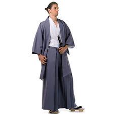 Japan Samurai Kimono Set 3 Teile Kendo Gi + Hakama + Haori Baumwolle Grau Weiß