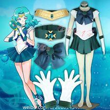 Cafiona Sailor Moon Kaiou Michiru Sailor Neptune Cosplay Costume Sexy Dress Blue