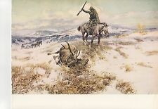 "1972 Vintage HUNTING ""WHERE TRACKS SPELL MEAT, 1916"" WAPITI ELK Color Lithograph"