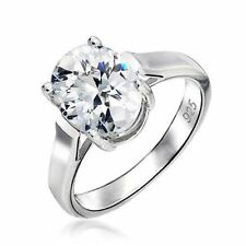 Silver Plated Oval Solitaire Costume Rings