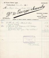 GEORGE SOWERBY,Carlisle 1915 Plumber Blackwell House+Cottages Work Invoice 48675