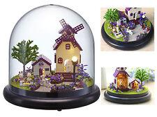 DIY Wooden Dollhouse Kit Miniature Provence Lavender Garden House + Glass Cover