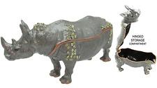 Rhino Jeweled Trinket Box with Swarovski Crystals, Grey