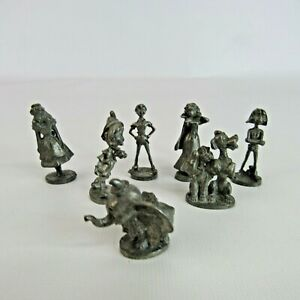 Walt Disney Monopoly Lot of 7 Pewter Tokens Playing Pieces Dumbo Pinocchio Peter