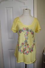 deb Short Yellow Sleeve Embellished Summer TShirt  Size L NWT