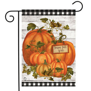 "Happy Fall Y'all Pumpkins Farmhouse Garden Flag Autumn Checkers 12.5"" x 18"""