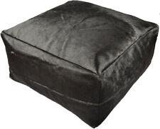 peau de vache Pouf 60 60 30 cm Noir Tabouret repose-pieds oreillers sol