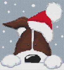 Brown Christmas Dog Cross Stitch Kit