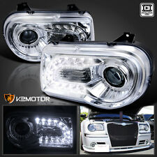 2005-2010 Chrysler 300C Chrome LED DRL Strip Projector Headlights Left+Right