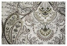White Tan Paisley Print Linen Drapery Upholstery Fabric Soft Decorative Apparel