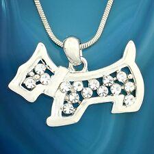 "DOG W Swarovski Crystal Pet Puppy New Pendant Necklace 18"" Chain Gift"