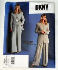 Vogue Pattern 1527 90s Designer DKNY Loose Suit Drawstring Pants Uncut 8-10-12