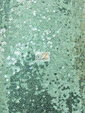 MINI DISC SEQUIN NYLON MESH FABRIC - Mint Green - BY THE YARD DRESS PROM GOWN