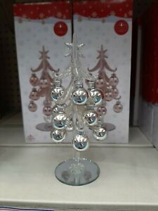 Christmas Glitter Glass Acrylic Tree With Baubles Xmas Gift