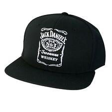 Jack Daniels Black Bottle Label Snapback Hat Black