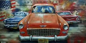 Ideal Gift America Cars Wall Sculpture Metallic Ornaments Decorative 3d Painting