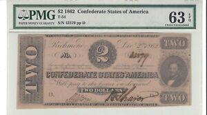1862, $2 Confederate Note