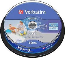 10 Verbatim Blu Ray BD-R 6x printable Rohlinge 25 GB BD R Rohlinge 43804 Neu
