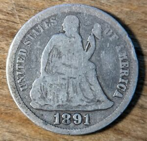 United States 10c Dime 1891 Silver (.900) Coin - Seated Liberty