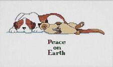"Paix sur Terre Cat & Dog Christmas Cross Stitch Kit Janlynn - 14 ct - 10""x5"""