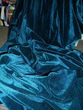 20 Inches TEAL BLUE VELVET / VELOUR FABRIC WITH  STREATCH 58INCHES WIDE