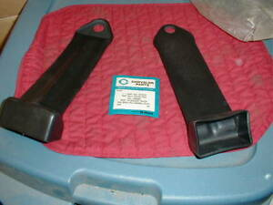 NOS MOPAR 1964 BLACK SEAT BELT COVERS 2 DRS W/O BUCKETS